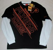 PHILADELPHIA FLYERS REEBOK MOCK LONG SLEEVE THERMAL T SHIRT MEN'S BLACK  MEDIUM