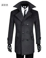 New men's double-breasted cashmere wool coat jacket and long sections