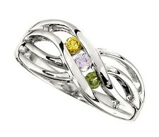 Mother's Jewelry Sterling Silver 1-4 Round Birthstones Mothers Ring, Moms gift