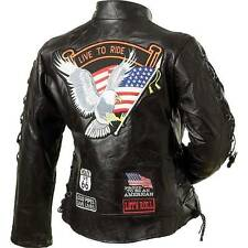 LADIES WOMENS GENUINE BUFFALO LEATHER MOTORCYCLE BIKER JACKET BLACK
