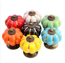 Antique Ceramic Pumpkin Drawer Cupboard Cabinet Door Pull Kitchen Knobs Handles