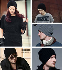 WINTER MENS WOMENS BOYS KNIT CROCHET SKI BEANIE KNITTING WOOL SOLID HATS CAPS XJ