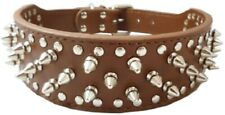 DOG COLLAR - BROWN LEATHER SPIKES & STUDS STUDDED 20 22 24 26 28 Inch