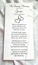 In Loving Memory Anniversary Card Husband/Wife Sentiment Poem for the Grave Side