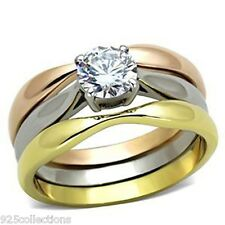 6mm Stainless Steel April Clear CZ Stone Lady Solitaire Wedding Ring Set Sz 5-10