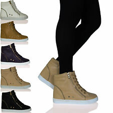 D8X Womens Ladies High Top Trainer Pumps Hidden Wedge Lace Up Casual Shoes Sizes