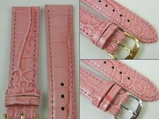 HQ 12MM 14MM MULTI PINK ITALY LEATHER WATCH BAND GLOSS SPECIAL CROC GRAIN STRAP