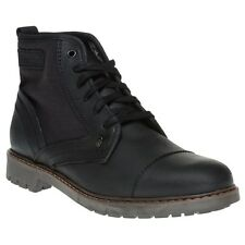 New Mens Firetrap Black Totem Leather Boots Lace Up