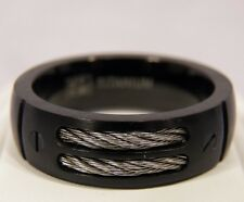 NEW Black Titanium Dual Cable Mens 8mm Ring Wedding Band Sz 7-13