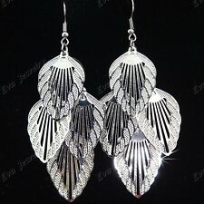 New 10Pairs Silver Hollow Leaves Drop Earrings for Women Wholesale Jewelry Lots