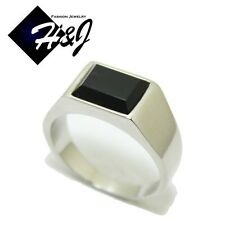 MEN's Stainless Steel Black Rectangle Onyx Silver Tone Ring Size 7-13