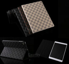 Luxury Deluxe Grid Folio Stand Leather Smart Case Cover For Apple iPad