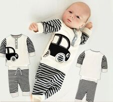 2PCS Baby Girls Boys Car Striped suits Long sleeve +Striped Pants  For 1-6Y