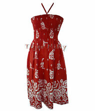 516 Floral 3 in 1 Summer Dress & Skirt Red UK Size 10-18