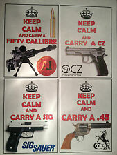 KEEP CALM & `CARRY A GUN` NOVELTY MAGNET, BERETTA, COLT, SIG H&K CZ -20 YLES