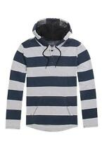Hurley Trek Double Knit Mens Blue Gray Henley Pullover Hoodie Striped New NWT