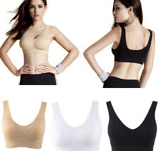 Womens Sports Bra Cami Bralette Underwear Tank Top Pads Camisole Double No Rims