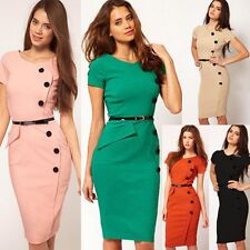 Woman's Vintage Rockabilly Pinup Bodycon Fitted Party Pencil Shift Sheath Dress