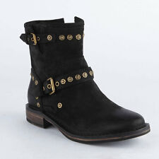 UGG Australia Fabrizia Buckle Motorcycle Boots Women Black Suede Ankle Boots