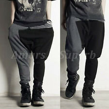 FASHION Mens Low Drop Crotch Slacks Baggy Jogging Casual Harem Pants Trousers