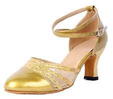 HONEYSTORE WOMEN ANKLE STRAP BUCKLE PATENT LEATHER DANCE SHOES