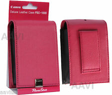 Canon Pink Leather Hard Carrying Case Bag Belt Loop for ELPH PowerShot Cameras