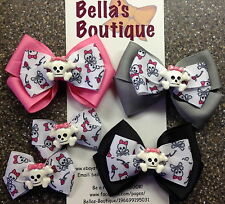 SKULL Monster High Inpsired Boutique Bow Hair Clip Pigtails Pink Grey Black