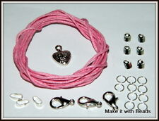 Cord Thong Necklace Findings Jewellery Making Starter Kit Black Brown Red Blue