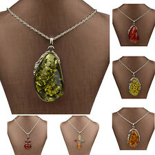 Mixed VTG Ladies GP Drop Resin Floral Amber Chain Pendant Necklace Party ZZ207