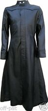Black Leather Goth Long Coat / Steampunk Gothic Van Helsing Matrix Trench