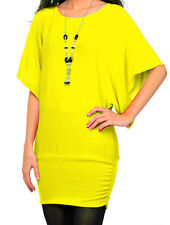 Ladies Jumper Womens Knitted Batwing Top with Necklace One Size Fits UK Sizes 8-