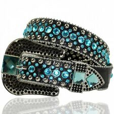Black Cowgirl Western LEATHER Belt (Turquoise) Stud BLING Rhinestone XS S M L XL