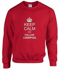 KEEP CALM AND FOLLOW  LIVERPOOL FAN SWEATSHIRT ALL SIZES AVAILABLE