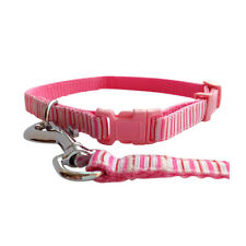 Pink Dog Collar and Matching Lead Set - Puppy and Dog - Pink Stripes