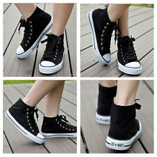 Classic Men Women Canvas Flat High Top Casual Shoes Trainers Sneaker Black/White