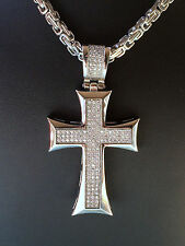 Stainless steel/steel gold plated micro pave Cross pendant chain bracelet set