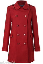 French Connection Nuovo Double Breasted Red Wool Coat Brand New BNWT UK 10 16