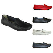 Ladies Womens Flat Slip on Grip Sole Leather Moccasin Loafers SIZE 3-8 (W13)