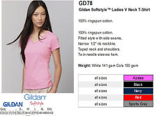 Gildan V-Neck Ladies Fit Shirts Personalised Custom Printed Text Photo