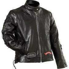 Awesome Ladies Womens Leather Motorcycle Biker Jacket, Harley Patch,  S-3X