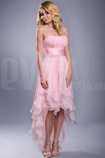 Strapless high low pink prom formal dress UK Sizes 8-22 Next Day Delivery