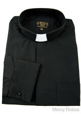 New Mens Black French Cuffs CLERGY TAB COLLAR SHIRT Long Sleeve, Size 19 & up