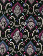 Oasis Damask Magenta/Blue - Urban Oasis- Benartex 3377-66 (sold by the 1/2 yard)