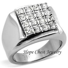 Stainless Steel Square Shape Pave Setting Men's CZ Ring - SIZE 8 - 13