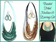 ~BEADED TRIBAL NECKLACE & EARRINGS SET~Glass Beads~Silver~