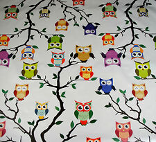 Wipe Clean Tablecloth Oilcloth Vinyl Ozzy Owl on White 140cm wide