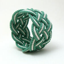 Mystic Knotwork: Wide Striped Sailor Knot Surfer Beach Rope Bracelet in Green