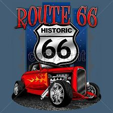 Route 66 T-Shirt Mother Road Trip Custom Highboy Jalopy Hot Rod Mens Sm to 3XL