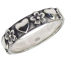 HEARTS and FLOWERS Band RING 925 Sterling SILVER Various Sizes k l n o p r