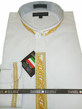 Mens Fancy White & Gold Nehru Dress Shirt Gorgeous Embroidered Detail DS3112C